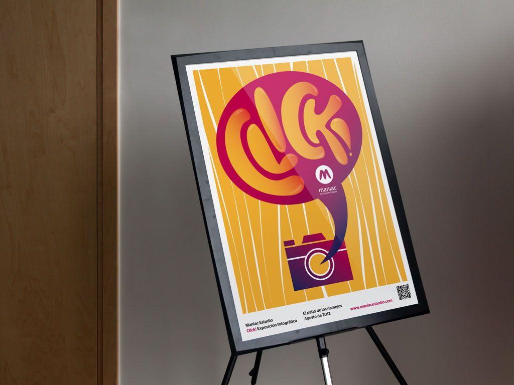 Cartel exposición fotográfica Click! de Maniac Estudio